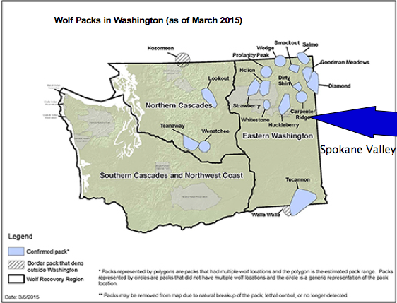Map of wolf territory in Washington state